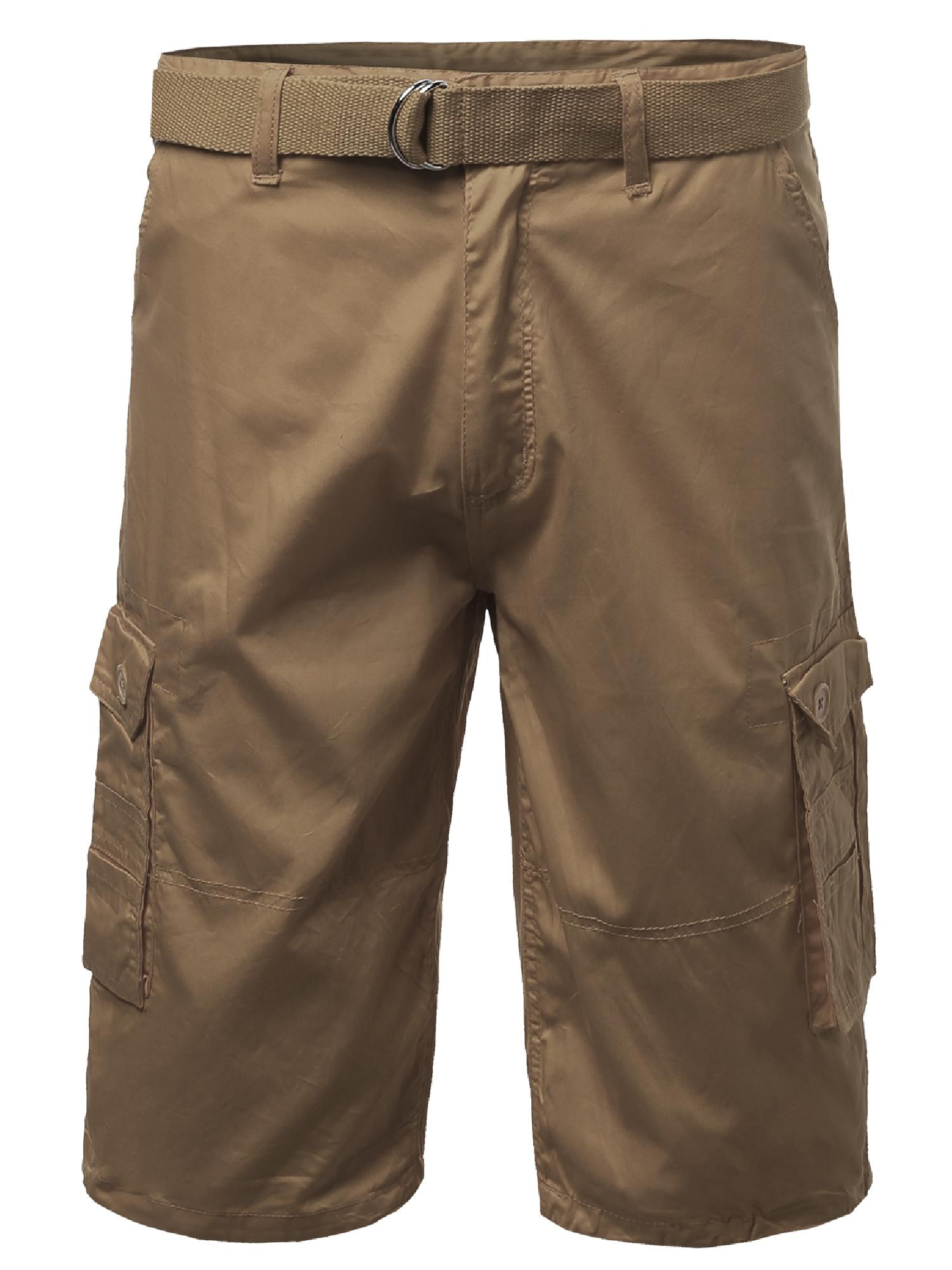 FashionOutfit Men's Basic Solid Detachable Dring Belted Cargo Shorts