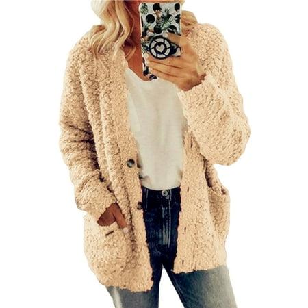 Womens Winter Warm Plush Fluffy Woolen Cardigan Coat Button Pocket Faux Fur Jacket Teddy Bear Outwear Overcoat Hoodies Plus Size S-5XL Fur Coat Teddy Bears