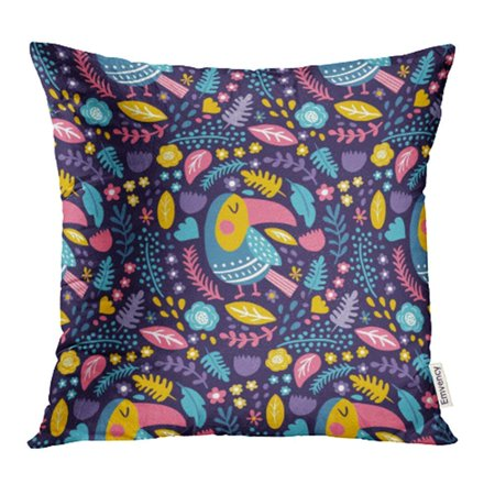 BSDHOME Yellow Animal Toucan Birds and Flowers on Dark Beak Beautiful Collection Color Cute Pillow Case Pillow Cover 16x16 inch Throw Pillow Covers - image 1 de 1