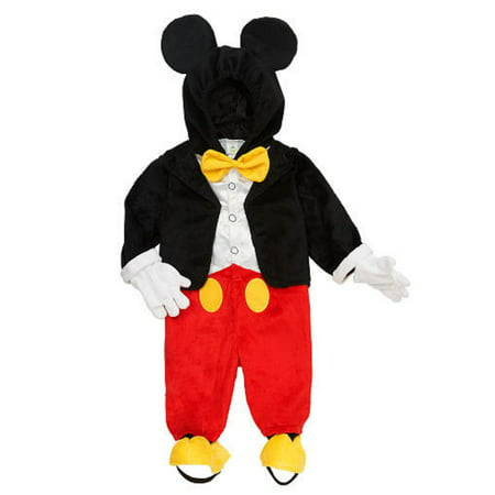 Disney Infant & Toddler Boys Mickey Mouse Costume Jumper with Mouse Ears Hood - Disney Character Fancy Dress Adults