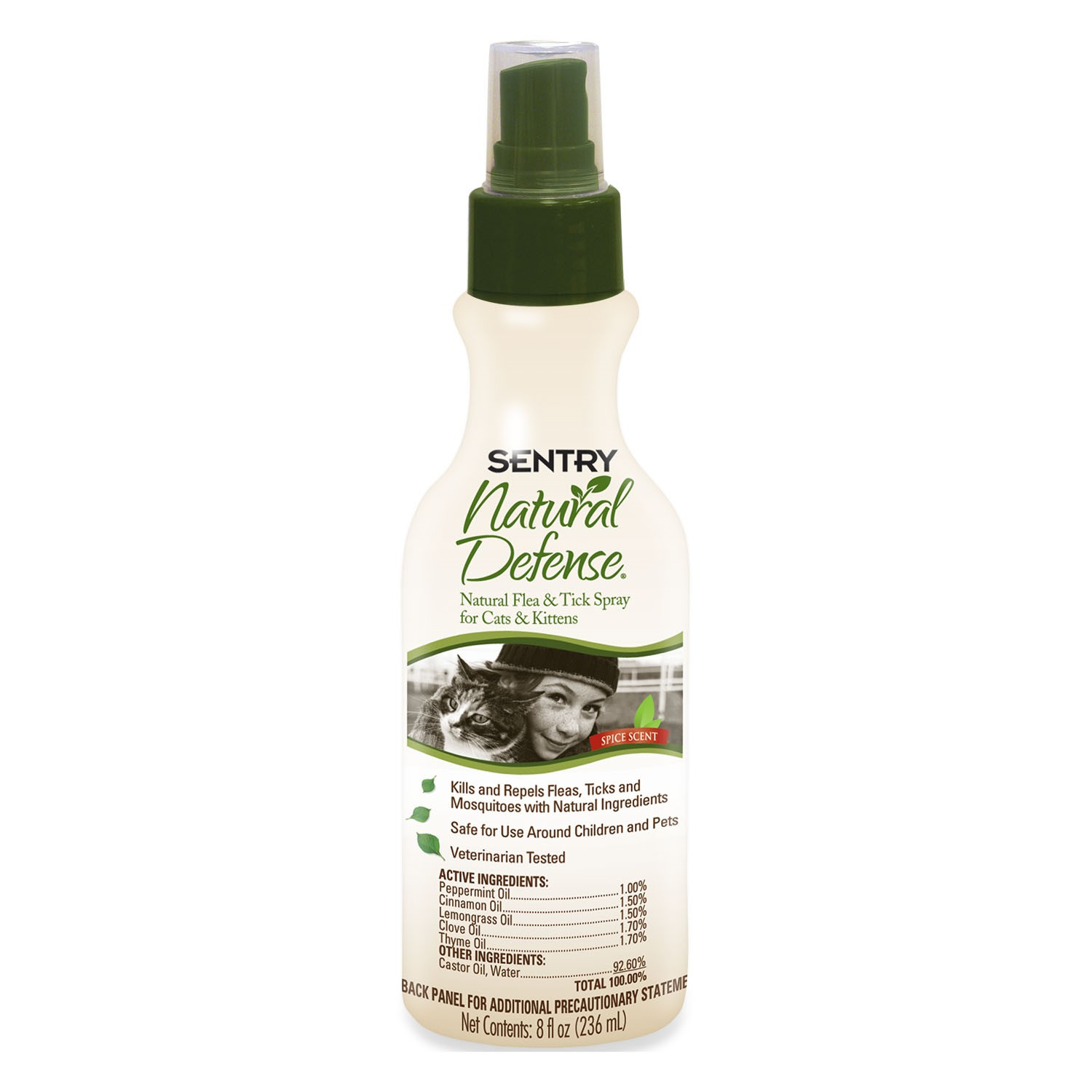 Sergeants Pet Care Products Inc Sentry Natural Defense Flea & Tick Spray For Cats & Kittens, 8 Oz