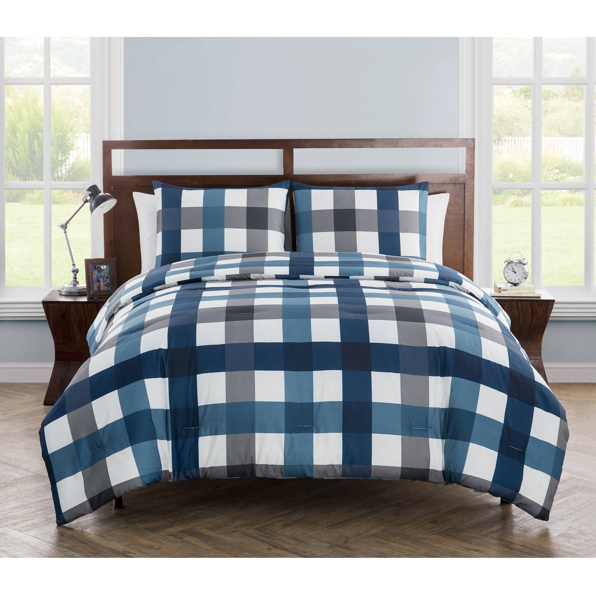 VCNY Home Bradley Gingham Printed Bedding Comforter Set, Shams Included