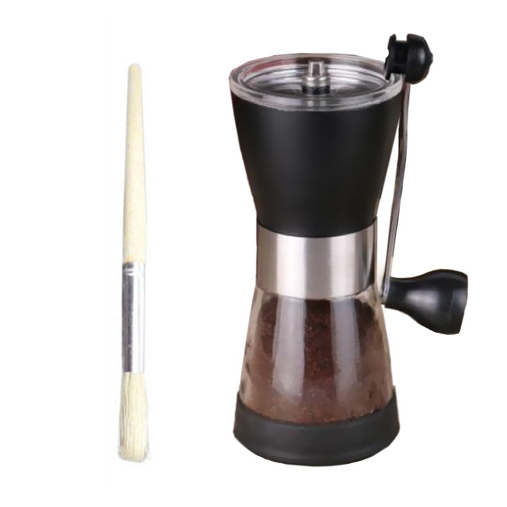 Ceramics Kitchen Grinding Tool Hand-Crank Coffee Grinder with Ceramic Burr (Clean Brush
