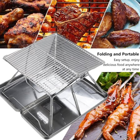 Image of Portable Stainless Steel Charcoal BBQ Grill with Stainless Carry Case- Foldable - Perfect for Tailgating, Camping, and Backpacking