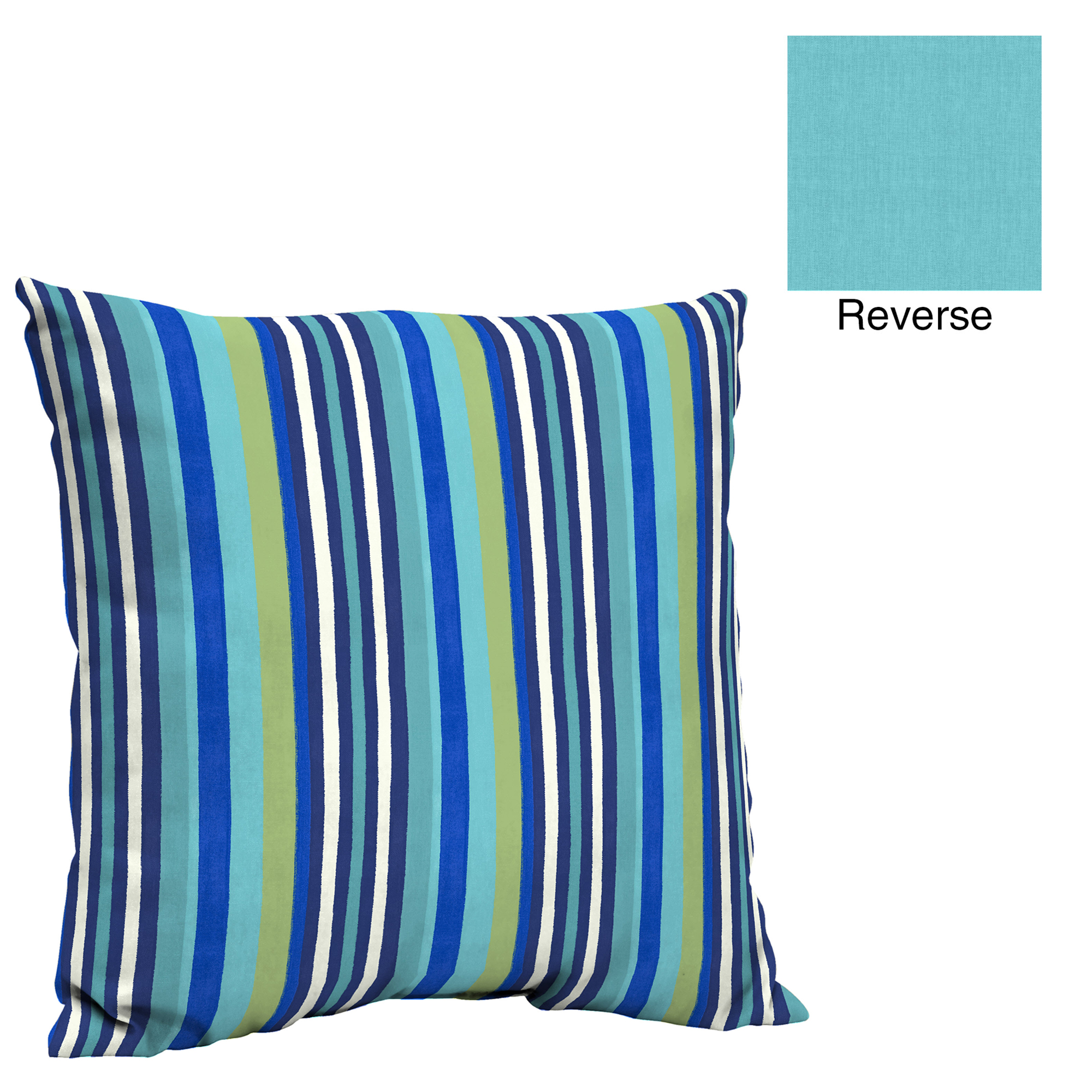Mainstays Turquoise Stripe 21 x 21 in. Outdoor Pillow Back Cushion