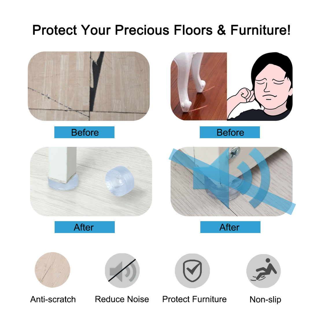 2pcs Round Rubber Feet Leg Pads Anti-scratch for Chair Leg Floor Protector 15mm - image 3 de 7