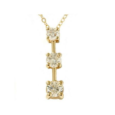 - 1ct Three Stone Diamond Stick Pendant Yellow Gold