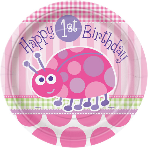 "9"" Ladybug 1st Birthday Party Plates, 8ct"