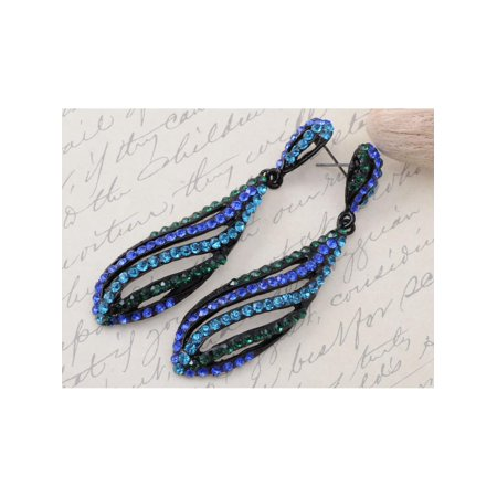 (Fashion Capri Blue Zircon Swirl Wave Fashion Crystal Rhinestone Dangle Earrings)
