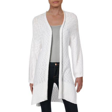 Eileen Fisher Womens Organic Cotton Open Front Cardigan Top White M