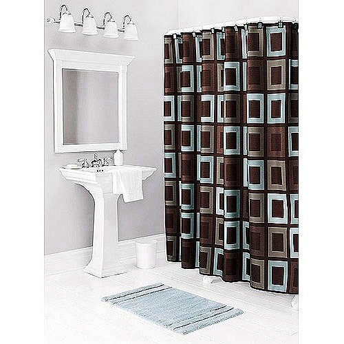 Better homes and gardens gridlock decorative bath collection shower curtain for Better homes and gardens shower curtains