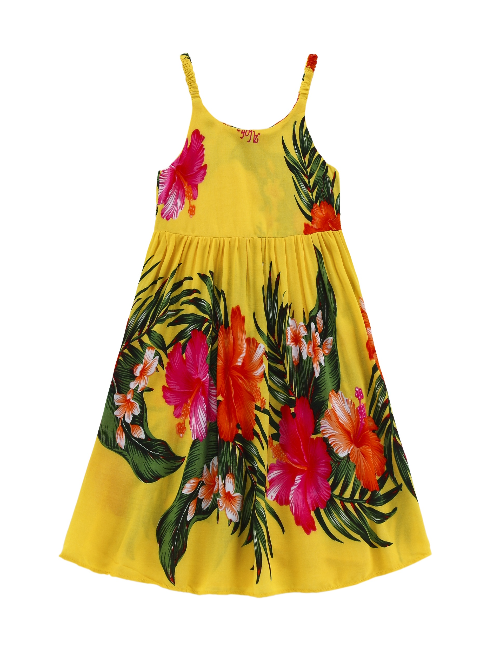 Girl Luau Dress Hawaiian Dress Elastic Strap Dress in Yellow with Red Floral