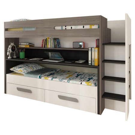 Parisot Bo10 Twin Over Bunk Bed With Desk And Drawers