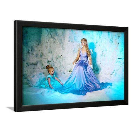 3e81feeb05cec Little Girl with Mother in Princess Dress on a Background of a Winter Fairy  Tale. Baby and Mom Snow Framed Print Wall Art By Miramiska - Walmart.com