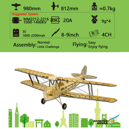 Flying Tigers Hobby (Dancing Wings Hobby S1901 Balsa Wood RC Airplane Tiger Moth Remote Control Biplane Unassembled KIT Version DIY Flying Model)