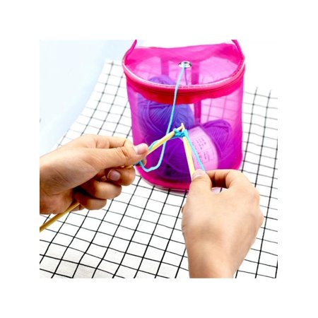 Topumt Knitting Mesh Bag Portable Yarn Crochet Storage Organizer Bag Pouch Holder Bead Knitted Bags