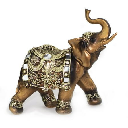Feng Shui 7h Brass Color Elegant Elephant Trunk Statue Wealth