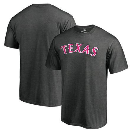 Pink Ranger Shirt (Texas Rangers Fanatics Branded 2018 Mother's Day Pink Wordmark T-Shirt - Heather)