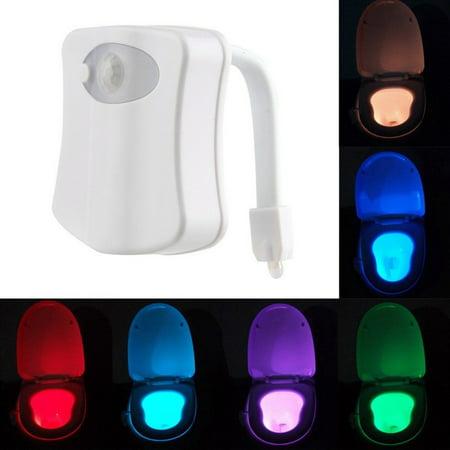Led Night Lamp Home Toilet Bathroom Human Auto Motion Sensor Seat Light Lamp
