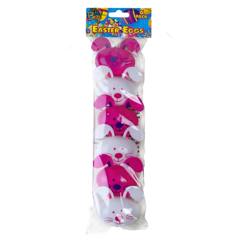 "Veil Entertainment Rabbit Shaped Bunny Fillable 2.5"" Plastic Easter Eggs, 6 Pack"