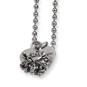 Heart and Skull Necklace in Stainless Steel