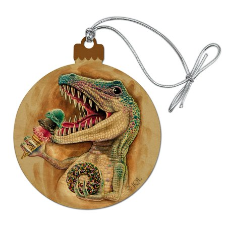 T-Rex Dinosaur Donut Ice Cream Funny Jurassic Junkie Wood Christmas Tree Holiday Ornament Christmas Tree Ice