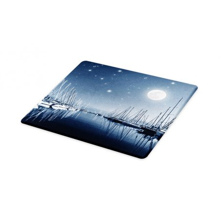 Boats Cutting Board, Tranquil Marina View at Night with Stars and Full Moon, Decorative Tempered Glass Cutting and Serving Board, in 3 Sizes, by Ambesonne ()