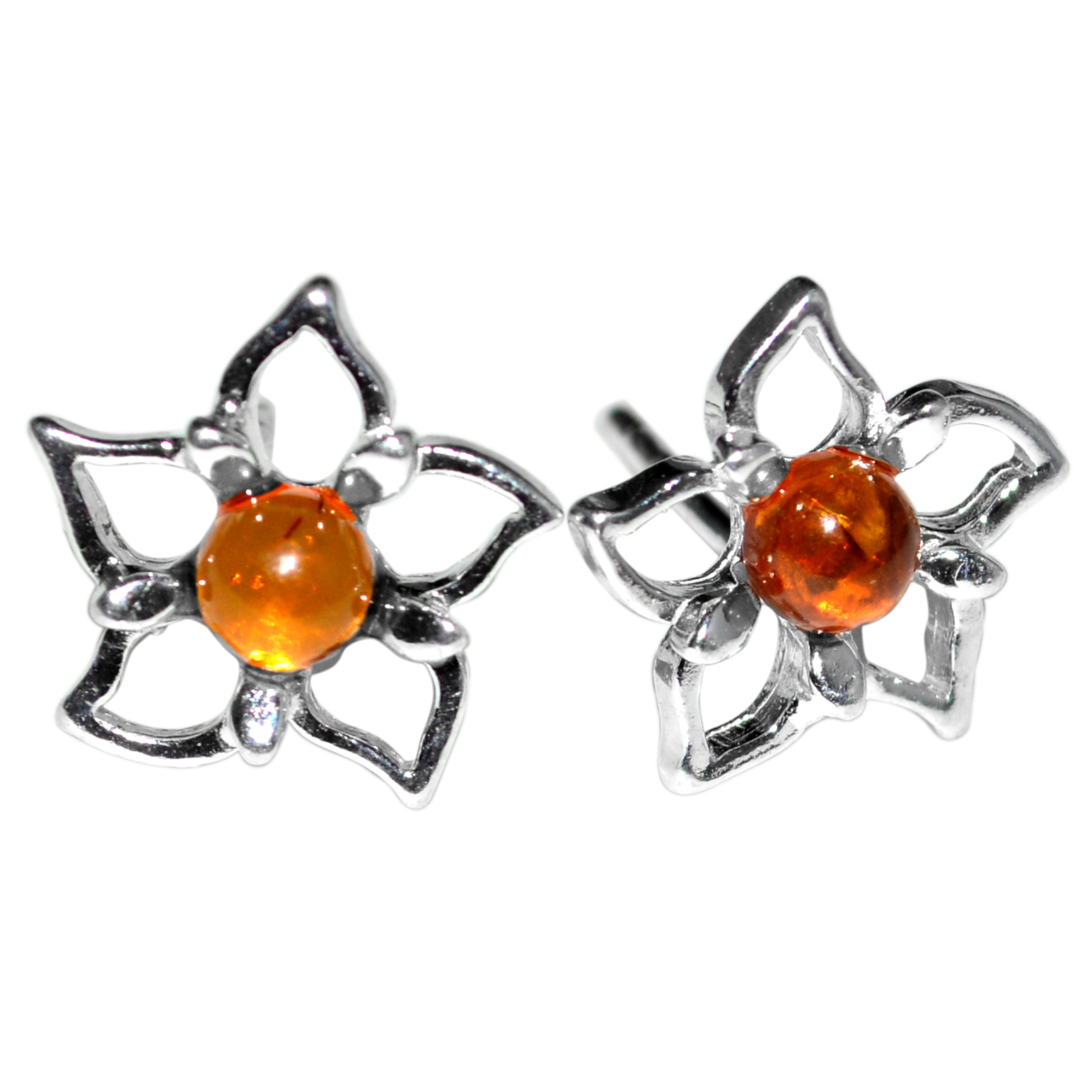 1.66g Authentic Baltic Amber 925 Sterling Silver Earrings Jewelry A8487