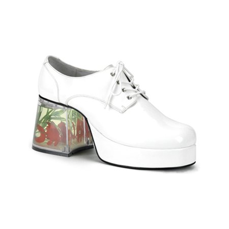 3 1/2 Inch Men's Shoes Platform Filled Heel Fish Retro Disco White E for $<!---->