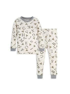 Burt's Bees Baby Organic Cotton Baby Toddler Girl or Boy Unisex Long Sleeve Snug Fit Pajamas, 2pc Set