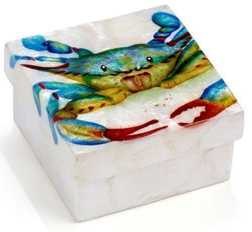 Kubla Crafts Capiz Shell Blue Crab Trinket Jewelry Gift Change Box