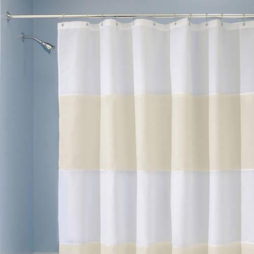 "InterDesign Zeno Fabric Shower Curtain, Standard 72"" x 72"", Blue/White"