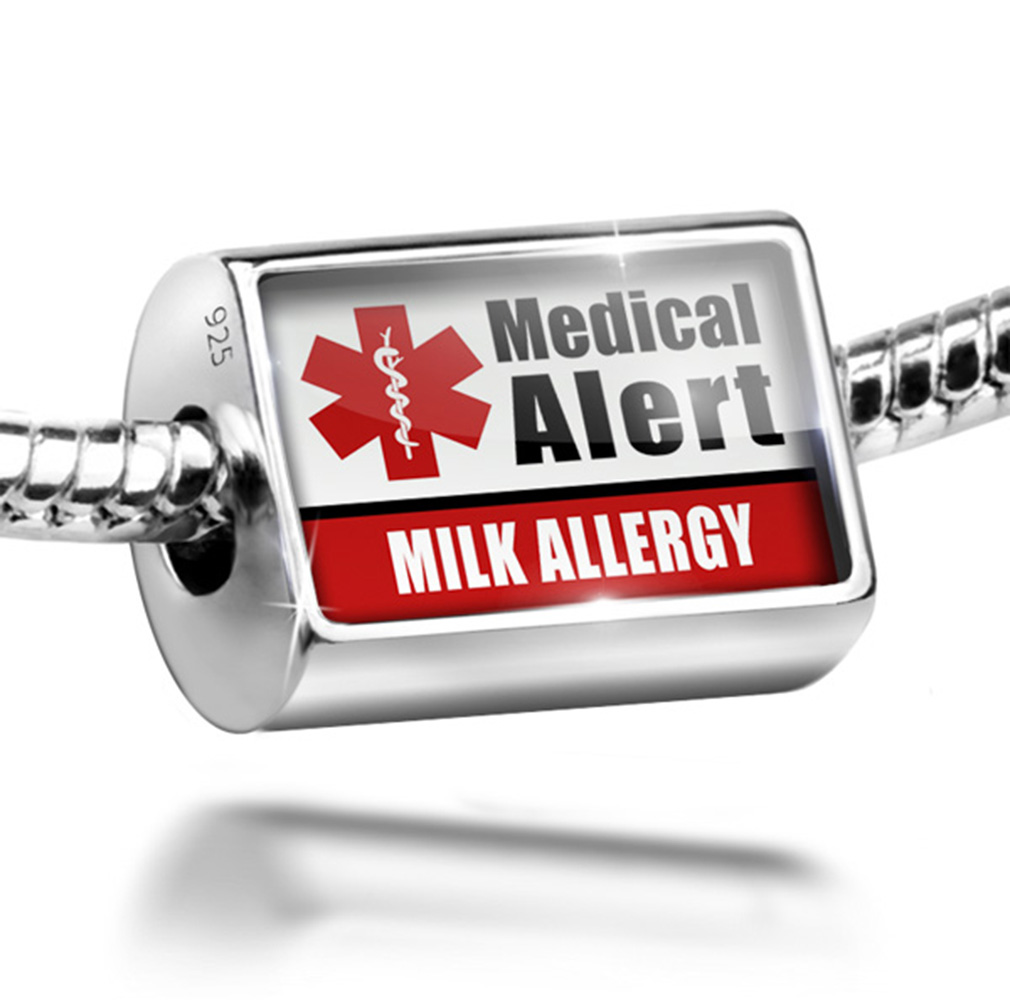 Neonblond Bead Medical Alert Red Milk Allergy Charm Fits ...