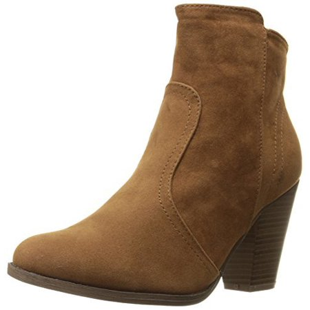 a80ff62e8198a Breckelles - Breckelles Women's HEATHER-34 Faux Suede Chunky Heel Ankle  Booties Tan 10 - Walmart.com