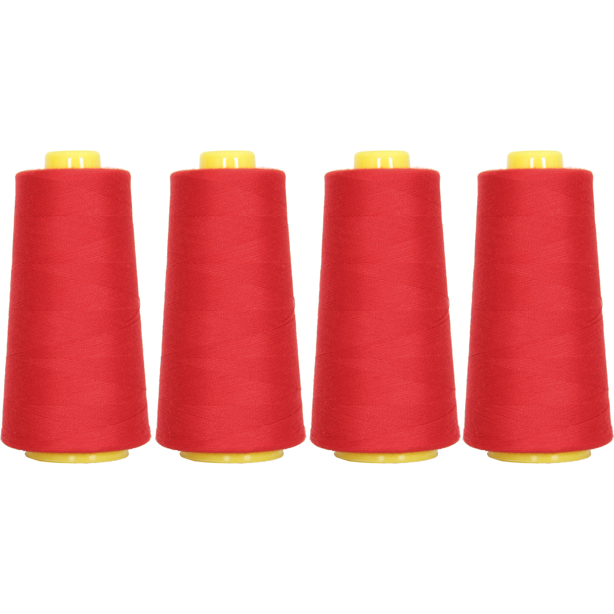 Threadart Polyester Serger Thread - 2750 yds 40/2 - Christmas Red - 56 Colors - 4 Cone Bundle Pack