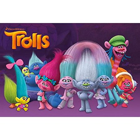 Trolls Party Birthday Cake Topper Edible Image 1/4 Sheet Frosting Sheet - Party City Birthday Cake Toppers