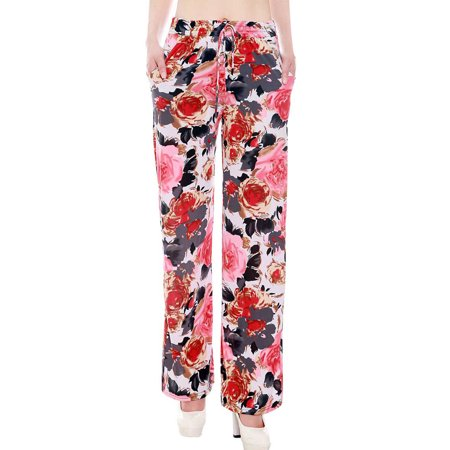 Womens Elastic Waisted Floral Print Palazzo Long Pants Wide Legs