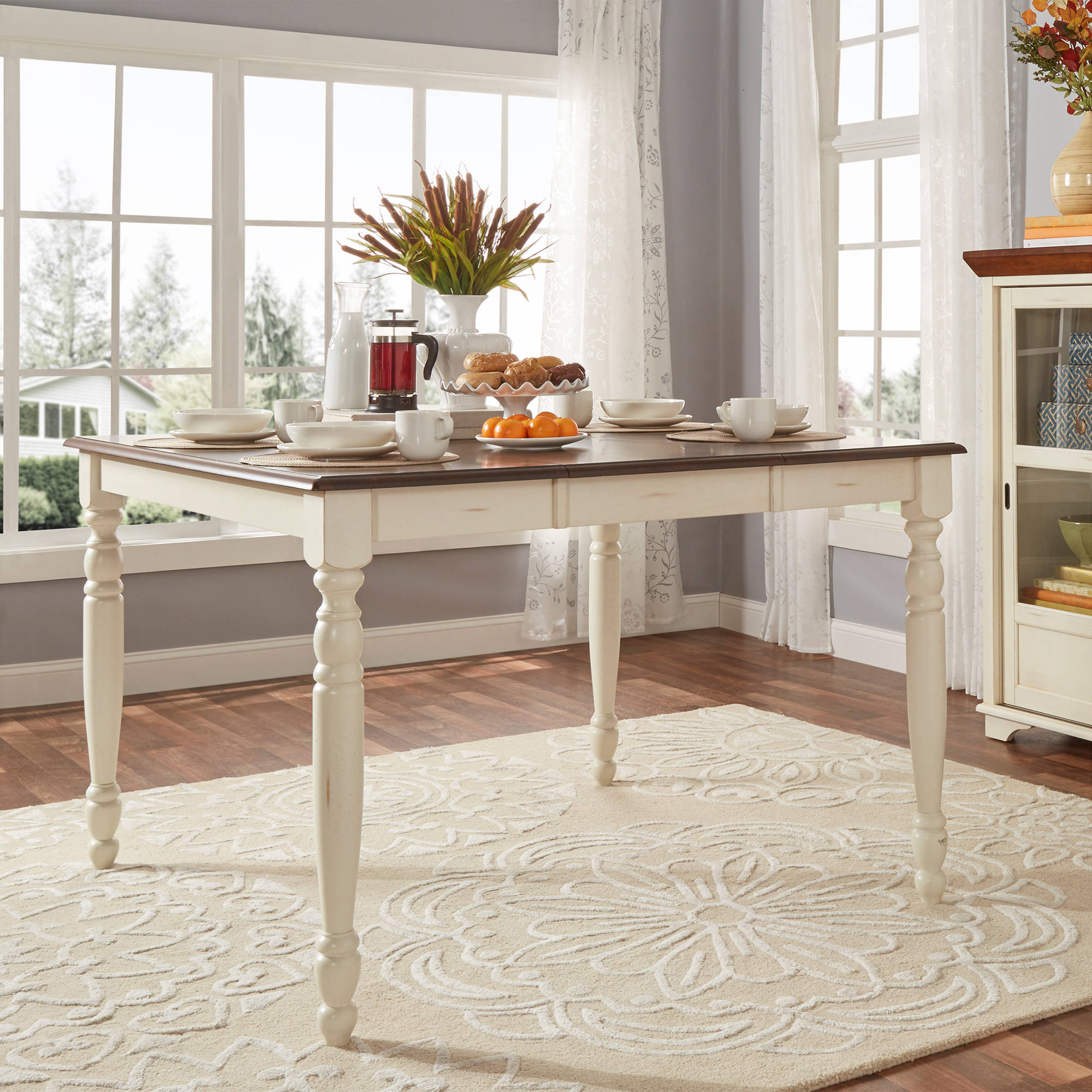 Weston Home Two Tone Counter Height Table, Antique White & Warm Cherry