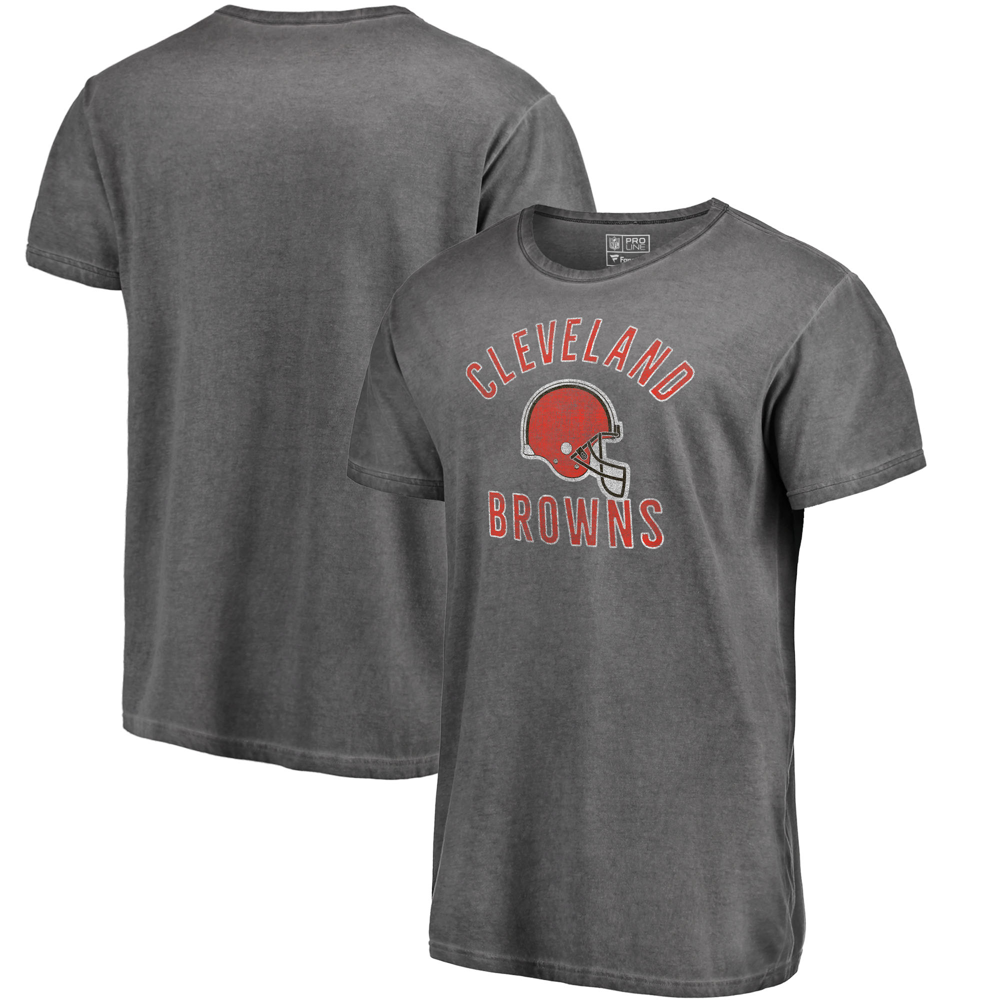 Cleveland Browns NFL Pro Line by Fanatics Branded NFL Shadow Washed Helmet Icon T-Shirt - Black