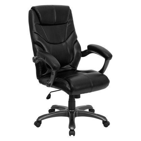 Contemporary Leather High-Back Office Chair, Black - Walmart.com