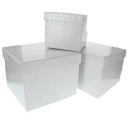 Material Box - American Crafts DCWV Square 3-Piece Nested Box Set - Premium Scrapbooking Material, Storage Holder Solution - White