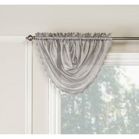 """Belle Maison USA, LTD. Whisper Crushed Satin Waterfall Valance With Beaded Trim 45"""" x 39"""" ()"""