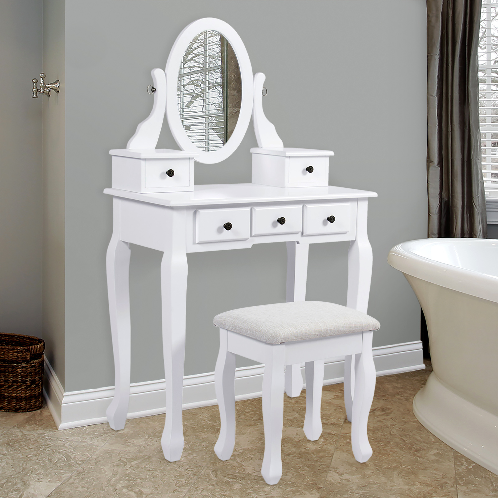 Best Choice Products Vanity Table and Stool Set w  Adjustable Oval Mirror, 5 Drawers, Padded Seat by SKY