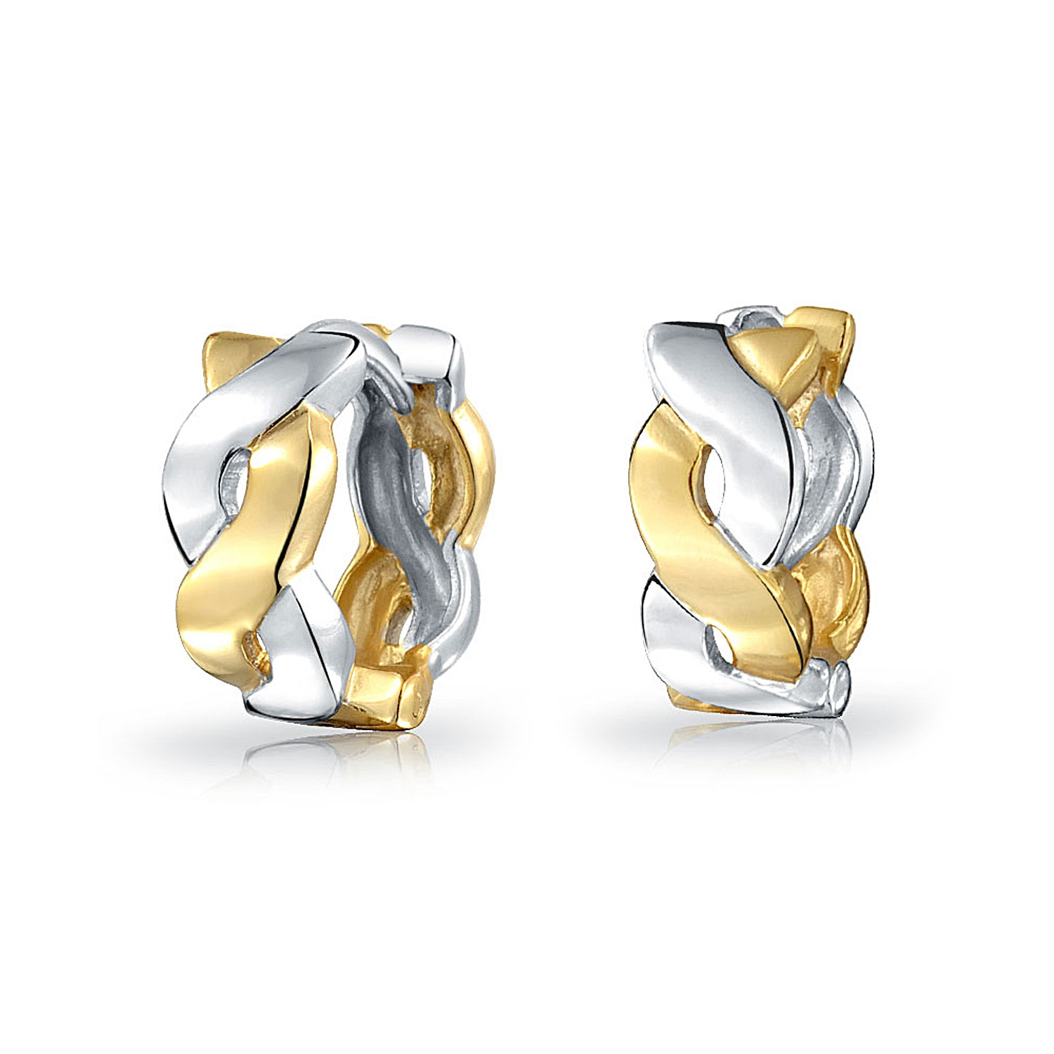 925 Sterling Silver Gold-tone Polished Twisted Hoop Earrings