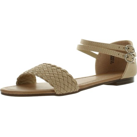 BellaMarie Womens Tevo-8 Footwear  Braided Ankle Strap Buckle Basic Comfort Flat