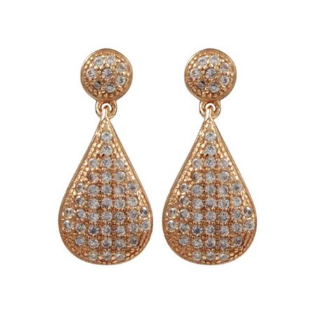 Dlux Jewels Rose Plated Sterling Silver with Micro Pave Cubic Zirconia Teardrop Dangle Post Earrings - image 1 de 1