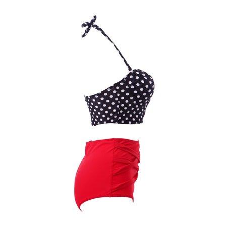 6ab78c1f31c21 HDE Women s Retro Bikini High Waist Vintage Style Swimsuit 50 s Pinup  Bathing Suit - image ...