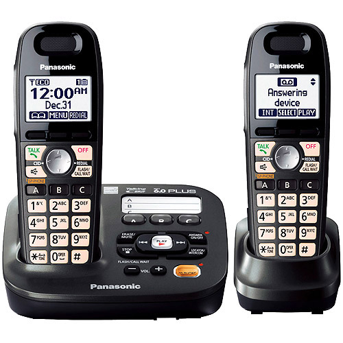 Panasonic KX-TG6592T DECT 6.0 Plus Expandable Digital Answering System with 2 Handsets