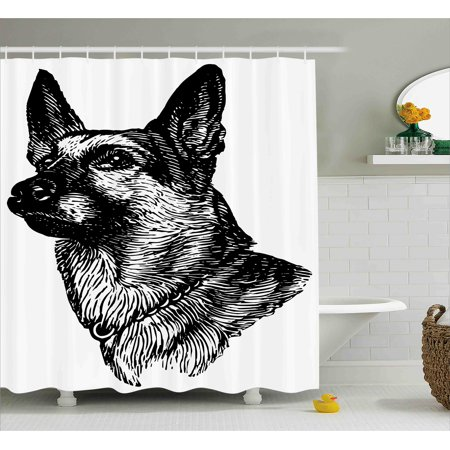 Animal Shower Curtain  Pencil Sketchy Image Of Dogs Human Best Friend Guardian Police Animal Artwork  Fabric Bathroom Set With Hooks  69W X 70L Inches  Black And White  By Ambesonne