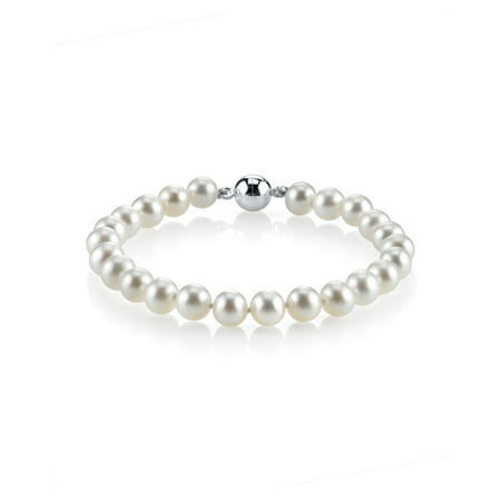 - AAA Quality 8-9mm Round White Freshwater Cultured Pearl Bracelet with Sterling Silver Magnetic Clasp in 7 Length for Women